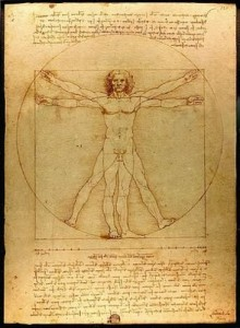 Leonardo's Vitruvian Man, arms stretched out wide, is the quintessential symbol of the Renaissance wide achiever